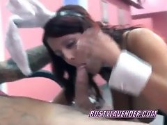 Horny Lavender on her knees and sucking a cock