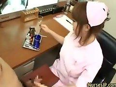 Sexy asian nurse treats cock