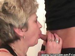 Hot granny sucks cock nice and deep