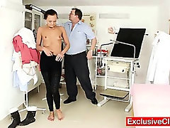 Bizarre gyn doctor checks hot leggy babe