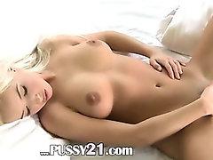 amazing blonde babe teasing herself
