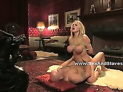 Sex slave abused and foced to please pair of men and women in submission busty fuck and spanking