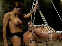 Pair of divine bitches with sexy bodies and nasty tongues fucking man sex slave in femdom