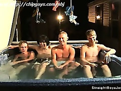 Four straight boys relax in spa