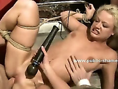 Blonde served for dinner in public orgy getting forced to swallow cocks in rough sex video