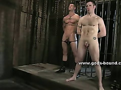 Athletic gay sex slave spanked with whip by pervert master that takes his holes in bdsm sex video