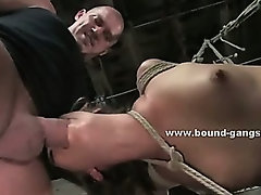 Beautifull asian with large breasts tricked by lover and forced to fuck in threesome bondage sex