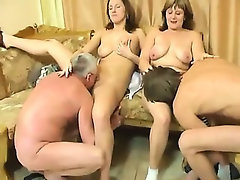 This family fucks together in a wild foursome