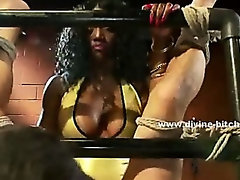 Black queen with firm body and large breasts whipping man before fucking him