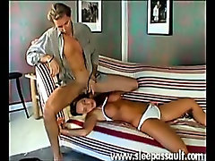 Hot sleeping pussy takes his meaty cock