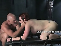 Busty prostitute bound in leather tight gets spanked and ass fucked in bondage anal sex video