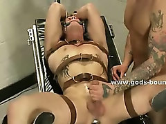 Sexy patient abused by kinky doctor gets tied in leather and spanked in bondage brutal sex video