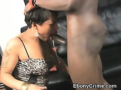 Black Ghetto Slut Gets A Rough Throat Fucking