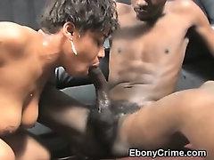 Black Ghetto Slut Gagging On Cock In Her Throat