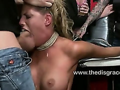 Busty blonde ass fucked in a public bar