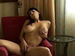 Busty exgirlfriend vibrating her snatch