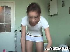 american Natasha at water closet