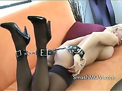Sexy blonde milf all tied up and gagged