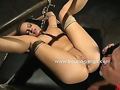 Big ass and boobs tied and abused in rough sex with pervert spanking in nasty videoclip
