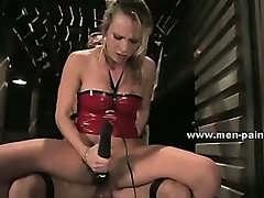 Man wrapped and held prisoner used like a sex toy in female domination sex video with bondage expert