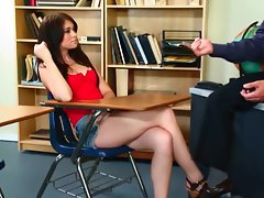 Hot whore Ashlyn Rae gets a deep pussy plowing in the classroom