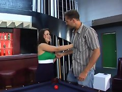 Saucy slut Kaci Star bent over pool table for a pounding to her pink pocket