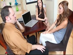 Kaylinn and Melanie Jane go from talking to licking pussy well