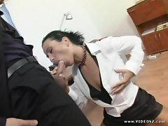 Simon Peach shoves this hard dick down her throat