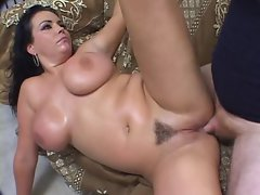 Angelica Sin gets her huge melons  coated with creamy man jizz
