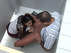 Cory Babe fucks inside of the public bathroom for all to see