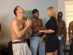 Bi-racial thugs beg for hot milf Mellanie Monroe to fuck but she only chooses 1