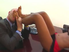 Ruby Rayes uses her nice toes to get off with her dirty boss