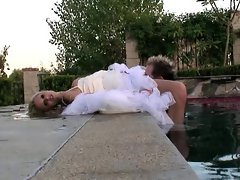 Tanya James fucks the hershey out of a sailor in her wedding dress