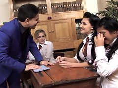 Hot students Julia Crown and Aletta Ocean pleasure each others snatches
