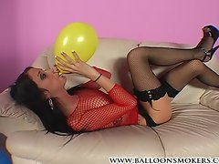 Looner teen blows up and pops balloons in heels