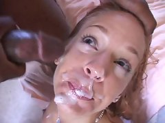 Gabriella Banks' gets a hot cum facial from a big black cock