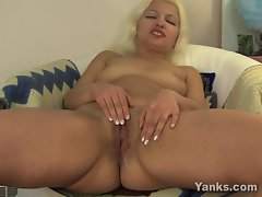 Chubby older blonde rubs her dripping wet pussy