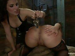 Rampant Bobbi Starr torments Katja Kassin's butt hole