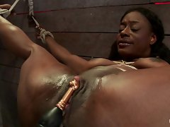 Red hot babe gets tied up & her snatch tormented