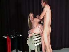 Tortured slave sucking penis