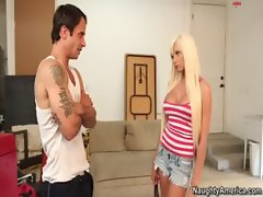 Hot blonde Rikki Six fucks and sucks married man to get her car repaired