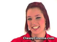 Punk redhead masturbating her shaved pussy
