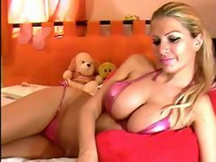 Blonde model play&#039_s with boobs webcam www.SexAtCams.com