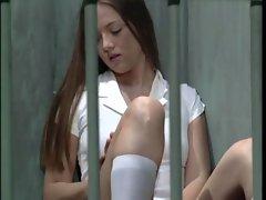 Innocent cutie Becky Lasabre held in a lesbian prison