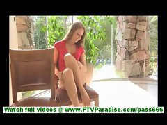 Keira skinny young blonde girl with small tits undressing and posing naked in hallway