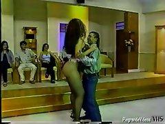 showgirl dancing in thong