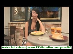 Rebecca cute brunette teen flashing tits in public and having lunch in restaurant