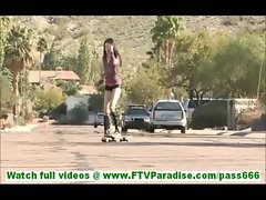 Aiden hot amateur brunette with small tits skating undressing and masturbating naked outdoors