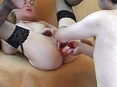 Blonde bimbo swallows giant boner