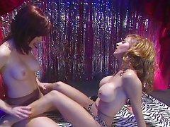 Pantyhose lesbian brunette teasing pussies